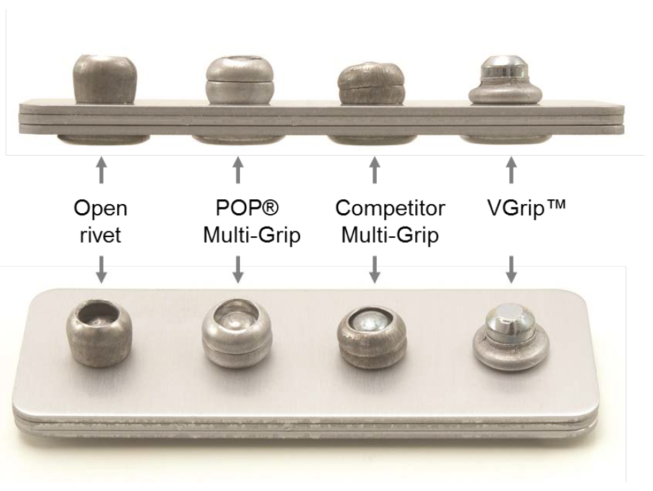 POP® VGrip™ Closing head design in comparison to conventional multi-range blind rivets